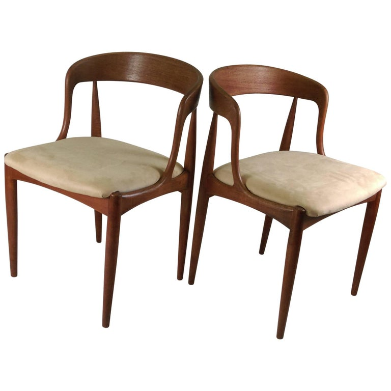 1960s Set of Two Danish Johannes Anderasen Side Chairs in Teak