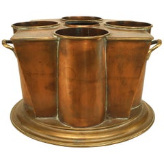 English Art Deco Square Tapered Copper and Brass Wine Cooler