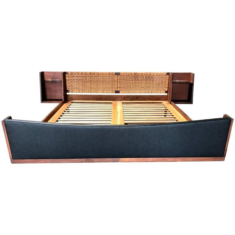 Modernist Hans J Wegner Queen Size Bed with Attached Nightstands, Denmark