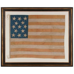 Entirely Hand-Sewn American National Flag with 13 Stars on a Tall Canton