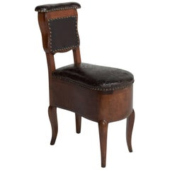 Mahogany and Leather Prie Dieu Chair, France, circa 1780