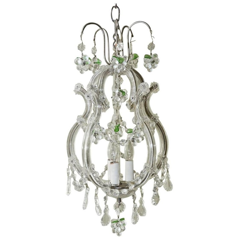 Small Vintage Crystal and Grape Cluster Motif Chandelier For Sale