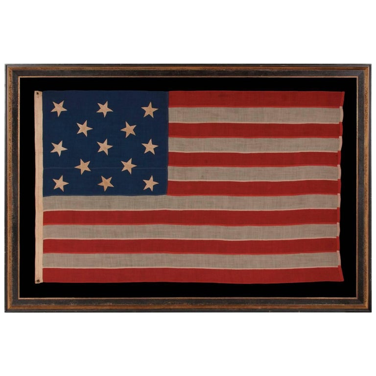 13 Stars Hand-Sewn Antique American Flag, with Stars in a 3-2-3-2-3 Pattern