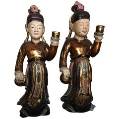 Two Wooden Sculptures of Worshipers, Vietnam