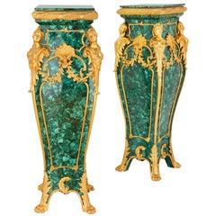 Pair of Louis XV Style Malachite and Gilt Bronze Pedestals