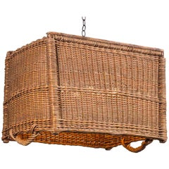 Large Vintage French Wicker Basket Chandelier Fixture, France, circa 1920