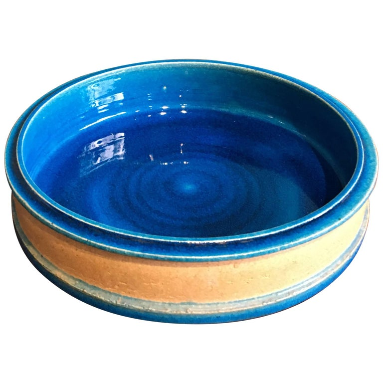 Vintage Danish Turquoise Ceramic Bowl by Nils Kähler