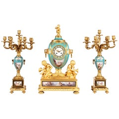 19th Century French Gilt Bronze and Sevres Porcelain Garniture De Cheminée