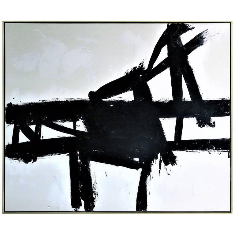 """Coal Mine III"" Black & White Original Painting by Karina Gentinetta 60 x 72 For Sale"