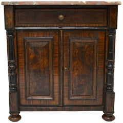 Pine Faux-Painted Marble-Top Side Cupboard