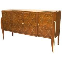 French Art Deco Style Amboyna Wood Four-Door Sideboard