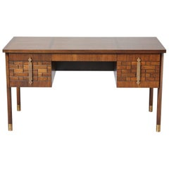 Walnut Desk with Graphic Wood Work and Brass Hardware, 1970s
