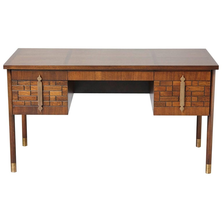 Walnut Desk with Graphic Wood Work and Brass Hardware, 1970s For Sale