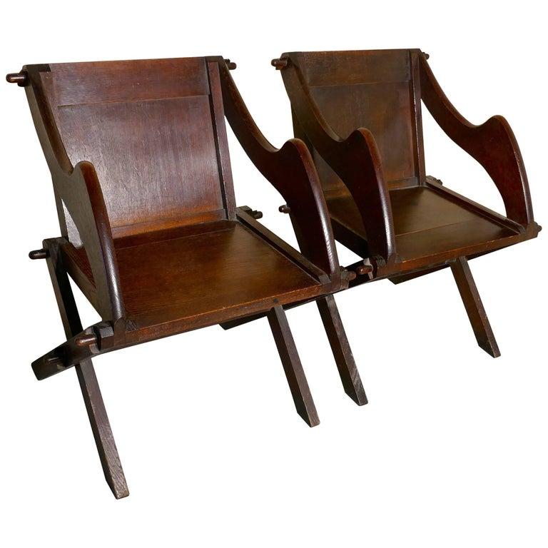 Pair of 19th Century Glastonbury Chairs in Oak