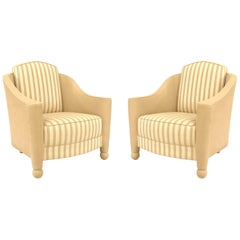 Pair of French Art Deco Style Beige Linen Upholstered Bergeres