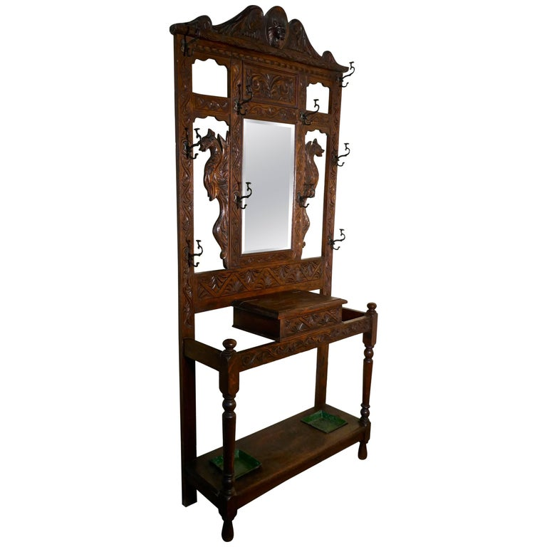Victorian Green Man Gothic Carved Oak Hall Stand