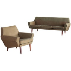 Danish Midcentury Sofa and Lounge Chair in the Style of Kurt Ostervig
