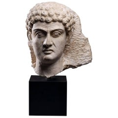 Limestone Male Head, Palmyra, 2nd-3rd Century AD