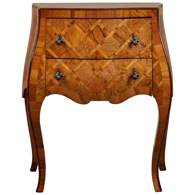 20th Century Petite Italian Marquetry Chest of Drawers For Sale
