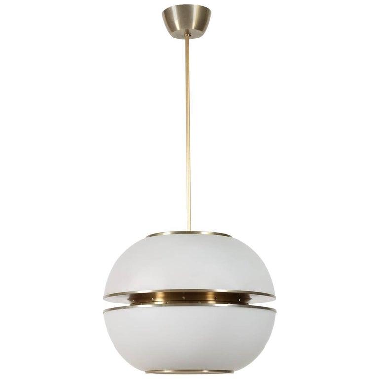 Large Oscar Torlasco Minimalist Round Glass Pendant Lantern, Italy 1960's