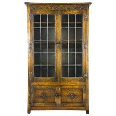 Mahogany Bookcase, Antique Bookcase, Leaded Glass Bookcase, Scotland, 1930