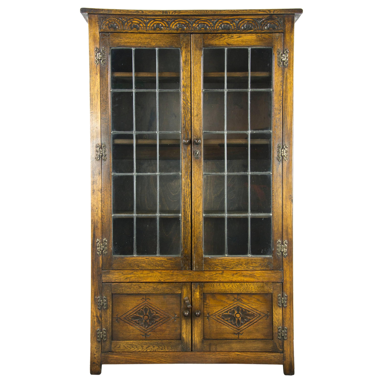 Delightful Mahogany Bookcase, Antique Bookcase, Leaded Glass Bookcase, Scotland, 1930