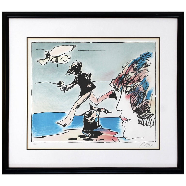 Mid-Century Modern Framed Print by Peter Max Running with Flying Sage Signed