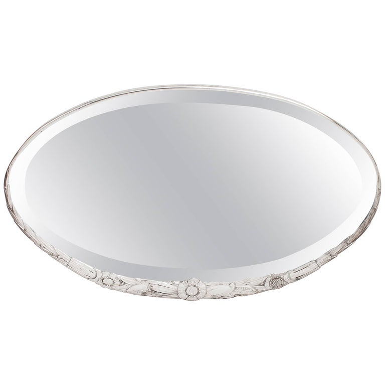 Art Deco Oval Mirror with Sculpted Floral Motif in Silvered Bronze, France 1930s