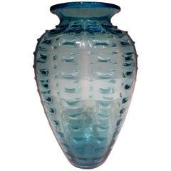 Ercole Barovier Murano Artistic Blown Glass Blue Vase, circa 1950