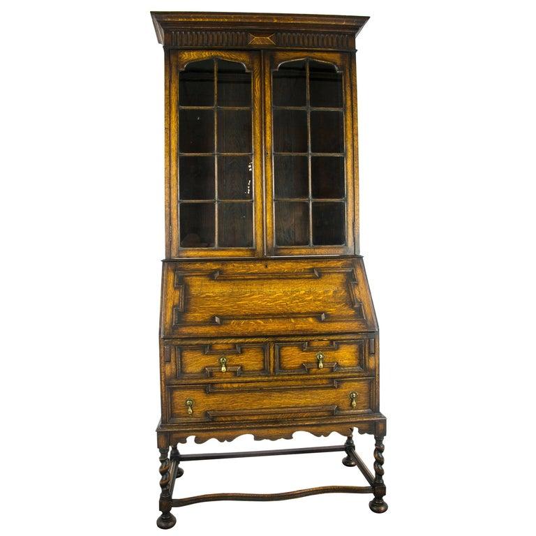 Antique Secretary Desk Victorian Oak Fall Front Scotland 1920 B1027