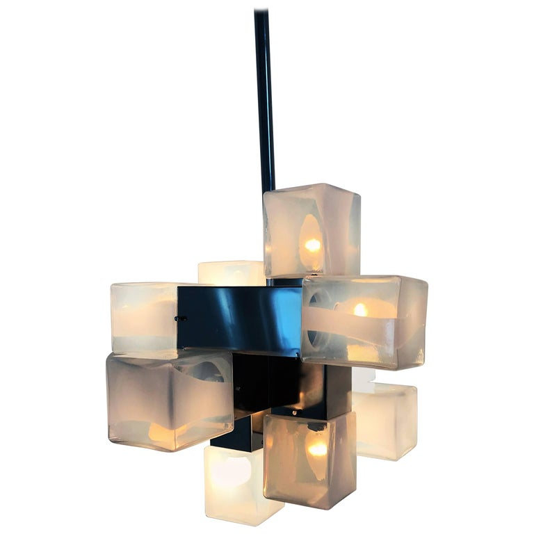Ten-Light Mid-Century Modern Chandelier by Carlo Nason for Mazzega, Murano Glass