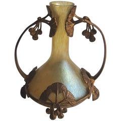 Art Nouveau Loetz Candia Papillon Vase in Ginkgo Metal Frame