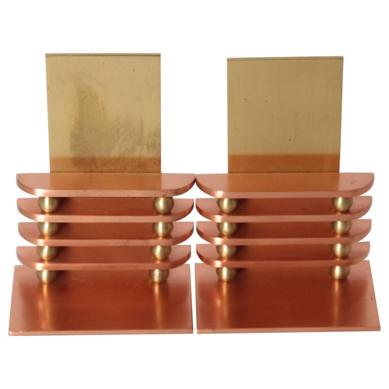 Machine Age Art Deco Walter Von Nessen Octaball Bookends for Chase, Pair