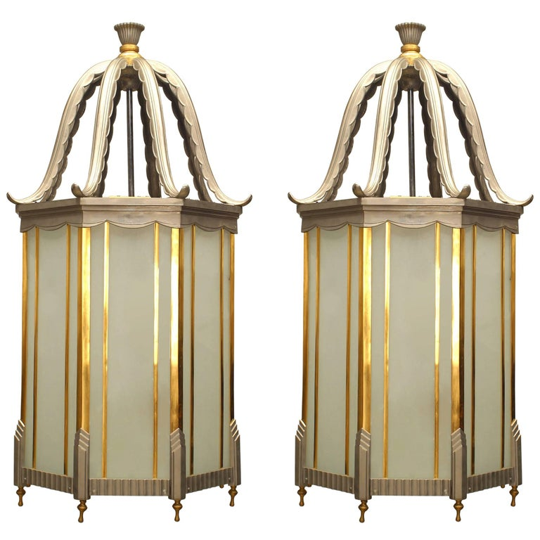 Pair of large French Art Deco Brass and Chrome Trimmed 8 Sided Hanging Lantern