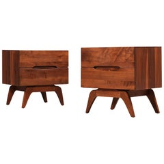 Midcentury Walnut Nightstands with Sculptural Bases
