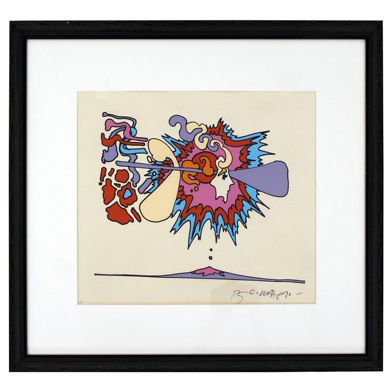 Mid-Century Modern Framed Litho Winter Sunshine Peter Max Signed Numbered 1970s