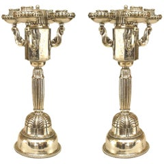 Pair of Austrian Art Deco Silver Plate Candelabra