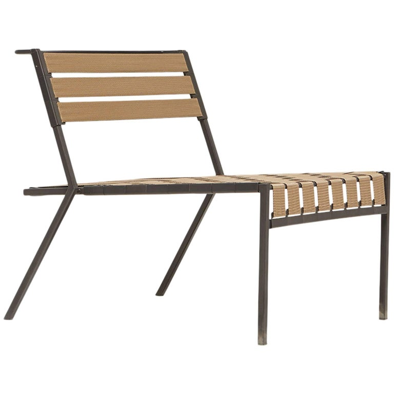 Outdoor Tan and Charcoal Lounge Chair