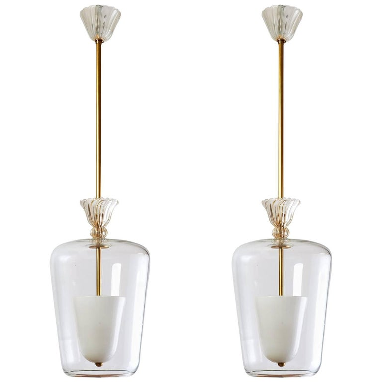 Pair of Blown Clear Glass Seguso Lanterns, Italy, circa 1950