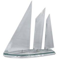 Modern Lucite Sailboat Sculpture