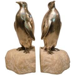 Art Deco Silvered Bronze Penguin Bookends, France, 1920s