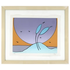 Mid-Century Modern Framed Space Flowers by Peter Max Signed and Numbered