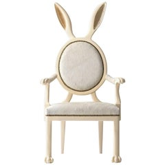 Bunny Ears Chair Armchair in Lacquered Wood and Leather