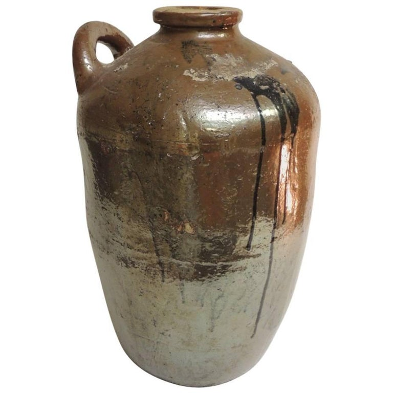 Monumental Antique Chinese Midcentury Stoneware Vessel with Handle