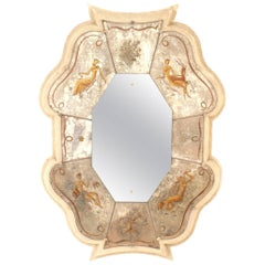 """French Midcentury Vertical Shaped Lacquered Framed """"Verre Églomisé"""" Mirror"""