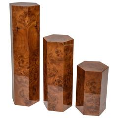 Set of Three Hexagonal Pedestals in Burl Wood