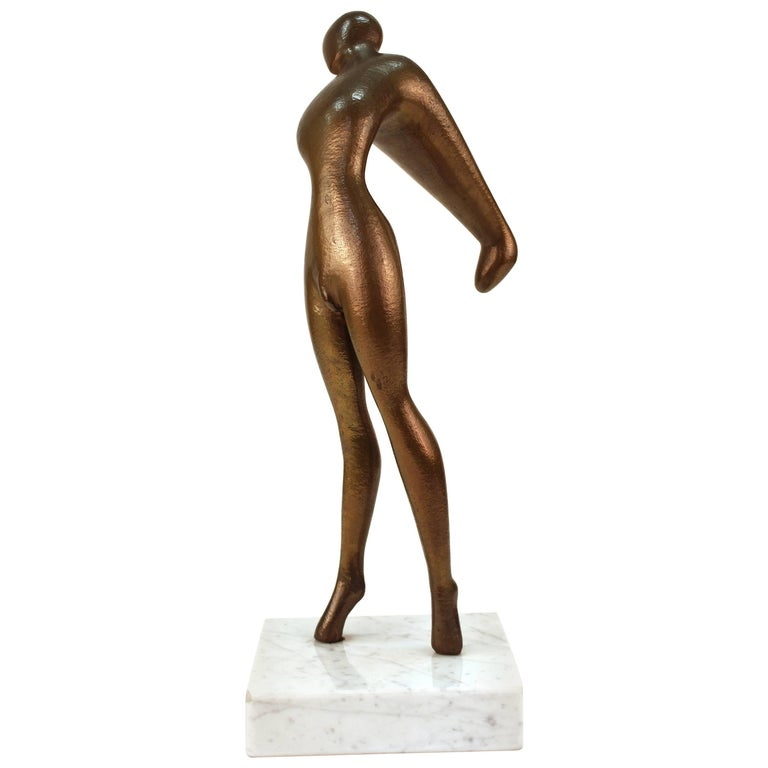 Edward J. Walsh Bronze Stretching Nude Sculpture on Marble Base
