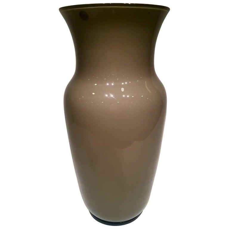 Venini Murano Glass Grey and Black Vase, circa 1946