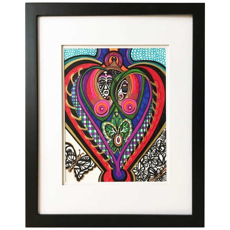 "Framed Abstract ""He, She and Me"" Mixed-Media on Paper by Laurel Rosenberg"