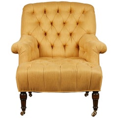 Classic English Tufted Club Chair on Casters
